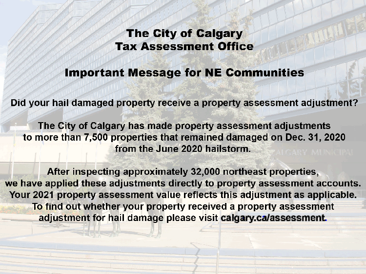 City of Calgary Assessment Notice for NE Communities